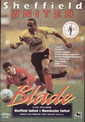 Original Official programme for the FA Cup 5th round match Sheffield United V Manchester United played on 14 February 1993.