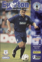 original Official programme for the Premier league match Everton V Manchester United played on 9 September 1995.