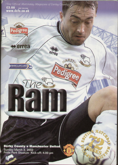 original Official programme for the Premier league match Derby County V Manchester United played on 3 March 2002.