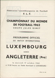 original Official programme for the 1962 World Cup qualifying match Luxembourg V England, the game was played on 19 October 1960.
