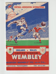 Original Official programme for the International match England V Wales, the game was played on 12 November 1952 at Wembley stadium.