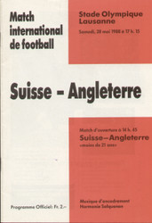 original Official programme for the friendly match Switzerland V England, the game was played on 28 May 1988.