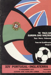 original Official programme for the European Qualifying match Portugal V England, the game was played on 19 November 1975.