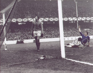 Superb signed photograph showing Joe Royal celebrating after he scores against Stoke City at Goodison.
