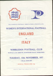 On offer is an original official programme for the International match England Ladies V Italy Ladies, the game was played on 15 November 1977. An increasingly rare programme and nice piece of football memorabilia.