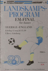 On offer is an original official programme for the first leg of the first ever ladies football European Championship Final, the match Sweden Ladies V England Ladies, the game was played on 12 May 1984. A very rare programme from the first leg and superb piece of football memorabilia.