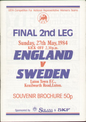 On offer is an original official programme for the 2nd leg of the first ever ladies football European Championship Final, the match England Ladies V Sweden Ladies, the game was played on 27 May 1984. A very rare programme from the first leg and superb piece of football memorabilia.