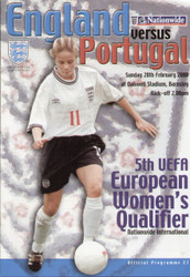 On offer is an original official programme for the European Championship Qualifier England Ladies V Portugal Ladies, the game was played on 20 February 2000.