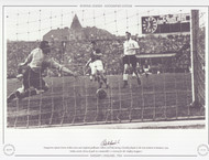 Ferenc Puskas scores past England goalkeeper Gilbert Merrick, during a friendly played at the Nep Stadium in Budapest, 1954.