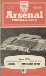 On offer is an original Official programme for the League Division 1 match Arsenal V Manchester United played on 29 October 1960 at Highbury.