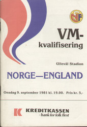 Norway V England 1981 World Cup Qualifier 1981 - Free UK Postage