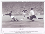 England V Hungary 1953. Hungary's Sandor Kocsis stretches for the ball as England keeper Gilbert Merrick comes out to block, during an International friendly match at Wembley 1953.