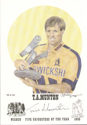 On offer is a portrait of Tim Munton, Warwickshire, Wisden cricketer of the year 1995. The artwork is by official Wisden artist Denise Dean and is issued as a limited edition of 150, this being 98.