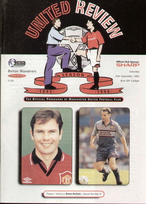 original Official programme for the Premier League match Manchester United V Wimbledon played on 16 September 1995 at Old Trafford.