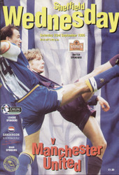 original Official programme for the Premier League match Sheffield Wednesday V Manchester United, the game was played on 23 September 1995.