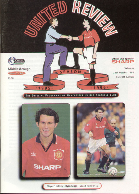 original Official programme for the Premier League match Manchester United V Middlesbrough, the game was played on 28 October 1995.