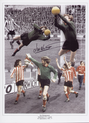 Superb signed montage of Sunderland legend Jim Montgomery, Montgomery made a record 627 appearances for Sunderland, he featured in the 1973 FA Cup Final, making what many regard as the greatest double save ever, preventing a Leeds equalizer and helping Sunderland secure a memorable victory.  Signed at a public signing event held in June 2015.