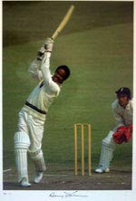 Sir Garfield Sobers, arguably the greatest all-rounder of them all, plays a spectacular cover drive against England in the second test at Edgbaston in 1973. Great picture signed by Garfield Sobers