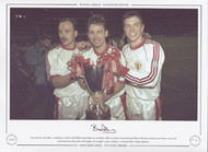 Manchester United's Mike Phelan, Bryan Robson & Lee Sharpe celebrate United's victory over Barcelona in the 1991 European Cup Winners Cup Final.