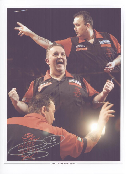 "Superb signed montage of Phil ""The Power"" Taylor."