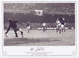 Glasgow Rangers - 1972 European Cup Winners Cup.  Willie Johnston of Rangers scores the winning goal against Dynamo Moscow, in the 1972 European Cup Winners Cup Final in Barcelona.