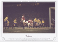 Manchester United's Bryan Robson stoops to head home his first of two goals against the mighty Barcelona
