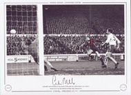 Colin Bell scores Manchester City's second of three goals past Chelsea keeper Peter Bonetti during an FA Cup 4th round tie at Maine Road, January 1971.