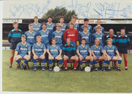 Superb hand signed Wimbledon FC Official Team Photograph season 1985-86, signed by 15+ of the squad.