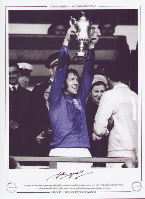 Rangers captain John Greig holds aloft the Scottish Cup after his sides victory over arch rivals Celtic in the 1973 Final.