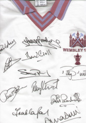 Superb West Ham United Retro 1980 Licensed Shirt, signed by all 11 of the victorious West Ham team.