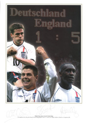 Superb signed picture of the magnifcent three whose goals destroyed Germany during England's historic 5-1 victory