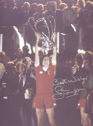 Superb photograph showing Phil Thompson lifting the European Cup in 1981.