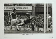 Stunning hand signed limited edition showing Everton's Bob Latchford scoring the first of his two goals as Everton crush Chelsea 6-0 in April 1978