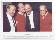 15th May 1968, Manchester United's Jimmy Murphy (assistant manager), Bobby Charlton (captain), Matt Busby (manager) and Jack Crompton (trainer) celebrate after securing their place in the 1968 European Cup Final