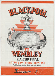 Blackpool FC Souvenir programme for the 1951 FA Cup Final