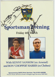 Menu signed by Kenny Sansom and Ron Harris
