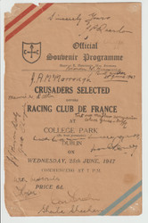 Crusaders Selected V Racing Club De France 25/06/47 programme