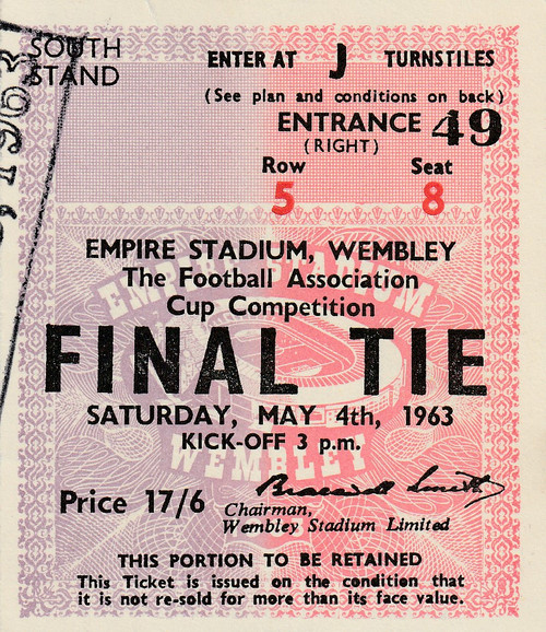 original used match ticket for the 1963 FA Cup Final, Manchester United V Leicester City