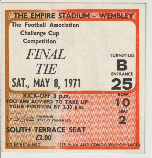 original used match ticket for the 1971 FA Cup Final, Arsenal V Liverpoo