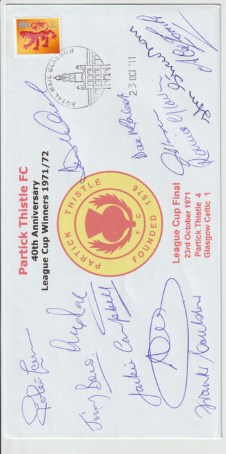 Partick Thistle's 40th anniversary League Cup 1971 First Day Cover - Signed by 12