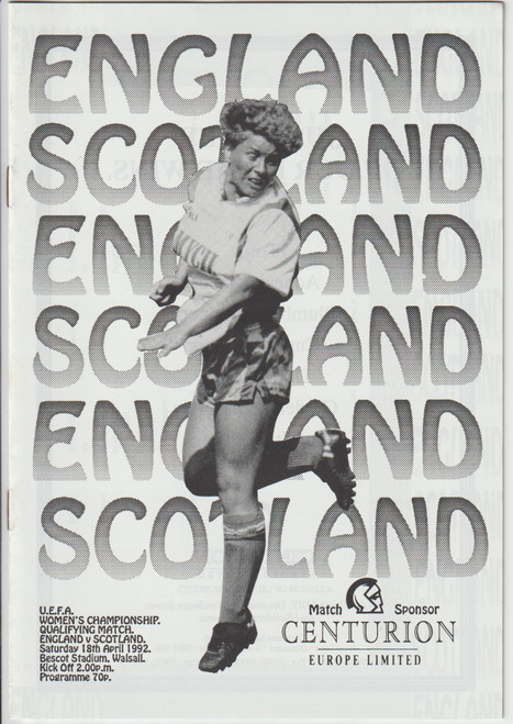 original Official programme for the UEFA qualifier England Ladies V Scotland Ladies played on 18 April 1992