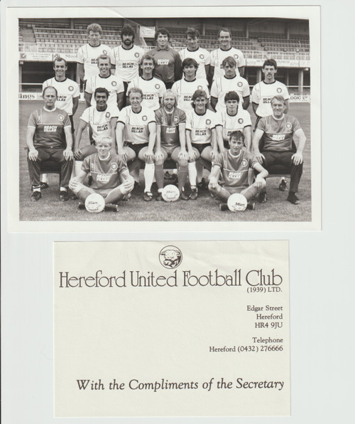 Superb hand signed Hereford United Official Team Photograph season 1985-86