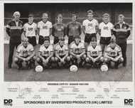 Superb hand signed Swansea CityFC Official Team Photograph season 1985-86, signed by 15 of the squad to the photograph.