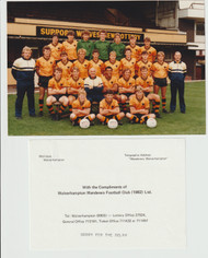 Superb hand signed Wolves Official Team Photograph season 1985-86, signed by 20+ of the squad to the rear of the photograph.