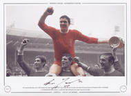 Post-match celebrations are in full swing as Liverpool captain Ron Yeats tries to hold onto the FA Cup 1965