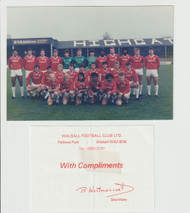 Superb hand signed Walsall FC Official Team Photograph season 1985-86, signed by 19+ of the squad to the rear of the photograph.