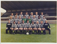 Superb hand signed Newcastle United Official Team Photograph season 1985-86, signed by 18+ of the squad to the rear of the photograph, includes Paul Gascoigne & Peter Beardsley.
