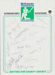 Hampshire County Cricket Club Autograph sheet mid 1990's signed by 17.