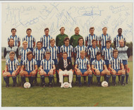Superb hand signed Sheffield Wednesday FC Official Team Photograph season 1985-86, signed by 18+ of the squad to the photograph.