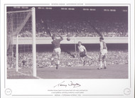 Tottenham Hotspur legend Terry Dyson heads his teams second goal past Arsenal keeper Jack Kelsey 1960.